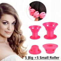 10Pcs Soft Hair Roller Silicone Hair Curler Bell Shape Hair Styling Tool M/L