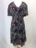 Vintage Black & Red Floral Button Down A-line Lined V-neck Dress UK Size 14