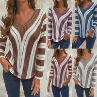 UK Womens Long Sleeve V Neck Loose Knitted Sweater Casual Jumper Tops Blouse