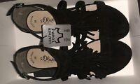 s.Oliver Sandaletten-Sandalen Damen Schuhe NEU mit Fransen Schwarz Gr.38 /US7