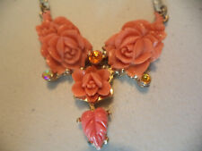 "Vintage Retro Plastic Faux Coral Floral Rose Gold Tone Costume 15"" Necklace!"