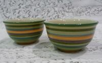 Aurora by Tabletops  Fruit Dessert Bowl All Green Yellow Blue Stripes Set of 2