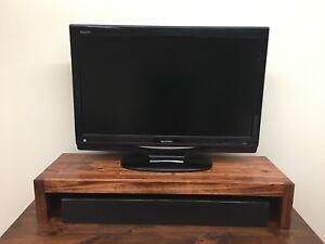 TV Riser/Laptop/Soundbar Modern Stand Solid Hardwood Made in the USA