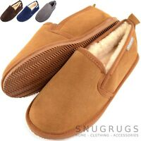 SNUGRUGS Mens / Gents Luxury Full Sheepskin Slipper Boots with Rubber Sole