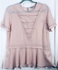 M&S Blush Pink Summer Top Lace 12 Blouse