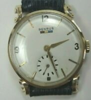 Retro Estate Benrus 14K Yellow Gold Wrist Watch Unisex 17 Jewels Model BB4 Fine