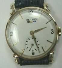 Retro Estate Benrus 14K Yellow Gold Wrist Watch Unisex 17 Jewels Model BB4 Fine