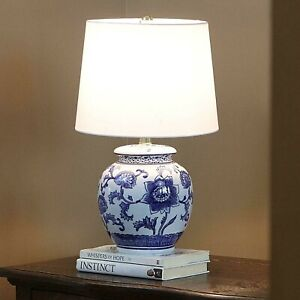 """Classic Small Blue & White Ceramic Table Lamp, Accent Light, Fabric Shade, 14""""H"""