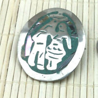 Vintage Sterling Pin Mexico 925 Silver Abalone Inlay Man & Woman Oval Pendant