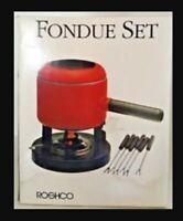 Roshco Fondue Set EUC Porcelain Enamel on Steel Pot Red