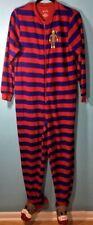 Nick & Nora Sock Monkey Red Striped Fleece Footsie PJs Pajamas Sleepwear Small