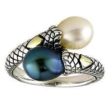 Andrea Candela 18k Gold & Sterling Silver Overlapping Cable Pearl Ring ACR16-BWP