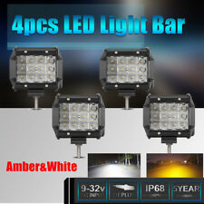 4pcs 4'' Off-Road LED Light Bar 672W White Amber Spot Beam Fog Lamp For Jeep 4WD