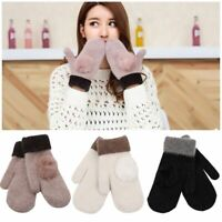 Cotton Lady Gifts Wool Knitted Mittens Women Gloves Full Finger Winter Warm
