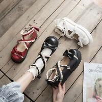 Sweet Cute Womens Lolita Flat Heel Lace Ankle Strap Bowknot Shoes Mary Jane