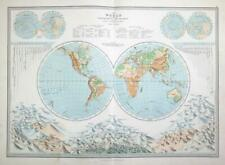 1883 - Large Original Antique Colour WORLD MAP Celestial Globe (PHA)
