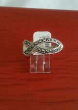92.5 STERLING SILVER FISH SYMBOL MARCASITE RING SIZE 8 - ARGENT CREATIONS