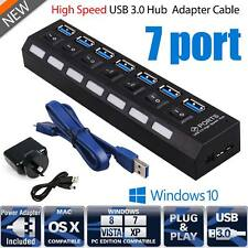 7 Port USB 3.0 HUB Powered +High Speed Splitter Extender PC AC Adapter Cable PM