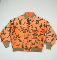 Destroyed Vtg Duxbak Sun Faded Orange Camo Hunting Jacket Distress Grunge L/XL?