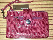 """COOL AND CUTE KENNETH COLE PLUM FAUX SNAKESKIN EMBOSSED """"LEATHER LIKE"""" WRISTLET"""