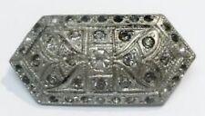 broche ancienne barrette cristaux diamant bijou art déco couleur argent 2487