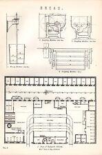Impresión De 1880 ~ ~ Máquina Pan ~ doughing plan Hydepark panadería Bruce & heno