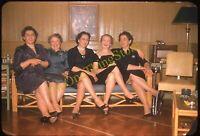 Women On Couch Dresses 1950s 35mm Slide Vtg Kodachrome Legs Heels Fashion Pretty