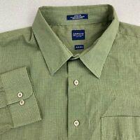 Arrow Dress Shirt Mens 18 Green Long Sleeve Check Wrinkle Free Pointed Collar