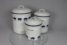 3 Naf Naf French Blue White Enamel Storage Tins Containers Biscuits Tea Sugar