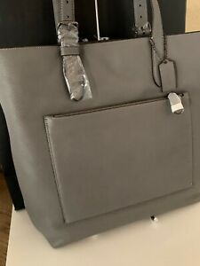 Coach Men's Pebbled Leather Metropolitan Soft Tote in GRAY! 32248