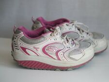 Skechers Shape Ups 5 White Pink Silver Trainers Breast Cancer Awareness