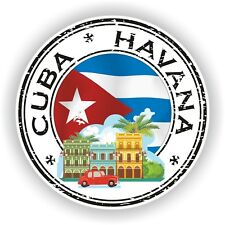 Seal Sticker of Cuba Havana Stamp Bumper Roundel Laptop Car