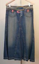 Carol Anderson for Cabi Boho Modest Long Blue Denim Jean Skirt Size 8