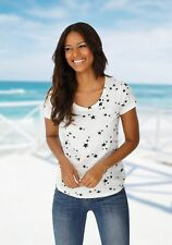 Summer Womens Star Print Tops Blouse Ladies Short Sleeve T-shirt Plus Size 6-18 Wine Red 2xl
