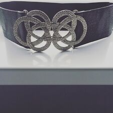 Topshop Waist Belt With Silver Knot Clasp Black Goth Punk