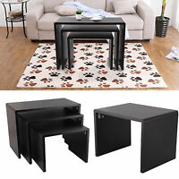 New Black Nesting End Table Set of 3 Side Gloss Coffee Nested Table Living Room