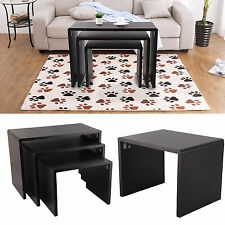 Matte texture Black Nest of 3 Coffee Table Side End Tables Living Room Furniture