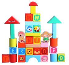 Juego de Construccion de Bloques Madera Animales Salvajes para niños iwood 34pcs