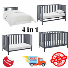 Child Baby Nursery Crib Convertible Full Size Toddler Bed Daybed Gray Color