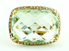 13.99ct Cushion Green Amethyst & Diamond 14K Yellow Gold Cocktail Ring Size 6.75