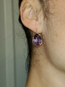 GORGEOUS! LARGE! 14kt SOLID GOLD 19ct PURPLE AMETHYST PEAR DROP EARRINGS 5.5g