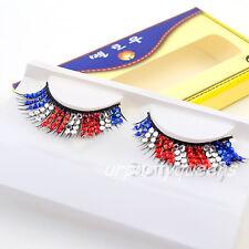Red White Blue Rhinestoned Thick False Eyelash For Party Stage Eye Lashes Makeup