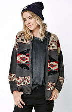 NEW OBEY WOMEN'S ADRI SWEATER FULL ZIP CARDIGAN TRIBAL SIZE SMALL