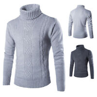 Fashion Winter Men's Warm Casual Slim Turtleneck Sweater High Collar Shirts New