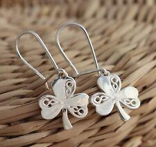 Solid 925 Sterling Silver Irish Shamrock 3-Leaf Clover Dangle Earrings Jewellery