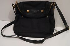 MARC BY MARC JACOBS Black Fabric Leather Gold Tone Zipper Branded Shoulder Bag