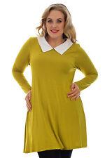 Women's Plus Size Long Sleeve No Pattern Asymmetric Dresses