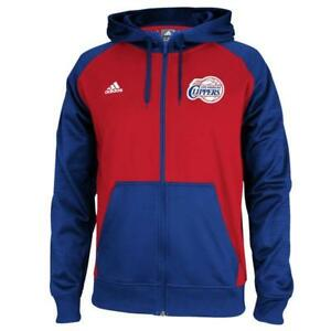 Los Angeles Clippers Mens Adidas Pregame Hooded Full Zip Sweatshirt (X-Large)