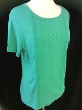 Womens Panel Front Broderie Anglaise Deep Apple Green Cotton T-Shirt