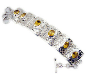 Yellow 925 Sterling Silver Natural comely Citrine suppiler Bracelet AU gift